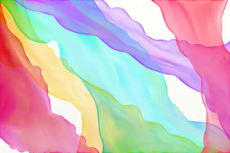 Abstract watercolor background in rainbow colors of blue red yellow green purple and pink in layers of streaming flowing ribbons of colors in fun wavy shapes