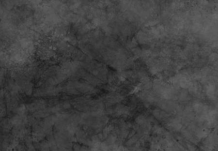 Black background texture, old grunge paint spatter on distressed crumpled paper with marbled dark cracks in grungy pattern
