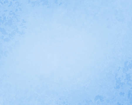 Light blue background with old vintage grunge texture on border and corners, pastel blue paper with soft light center