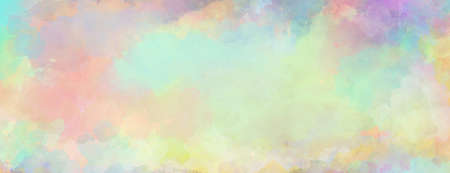 Colorful watercolor background of abstract sunset sky with puffy clouds in bright rainbow colors of pink green blue yellow and purple 免版税图像
