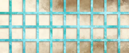 marbled blue grid on brown watercolor background in abstract design, trendy terracotta and aquamarine blue colors and painted texture in striped lines and block design element