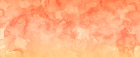 Orange watercolor paint splash or blotch background, blotches and blobs of paint and old vintage watercolor paper texture grain for fall, autumn, halloween, thanksgiving or other orange designs