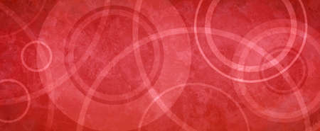red background with white circle rings in faded distressed vintage grunge texture design, old geometric pattern paper 免版税图像