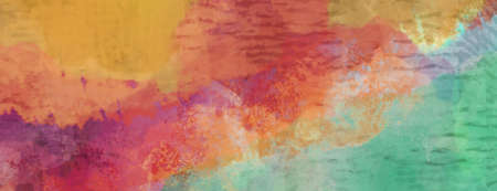 Abstract grunge background texture in colorful watercolor paint pattern, old green blue yellow orange purple red and maroon colors in bright fun design
