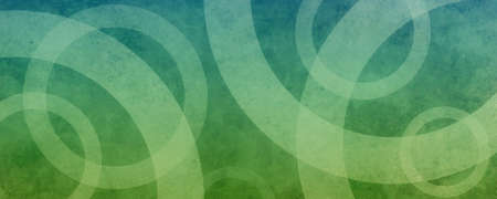 Blue green abstract background with geometric circles in overlapping pattern in modern design with old texture and gradient color