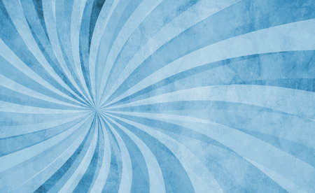 Blue swirl pattern in retro background design with old grunge texture and faded pastel blue and white colors, abstract vintage sunburst in hippy groovy illustration