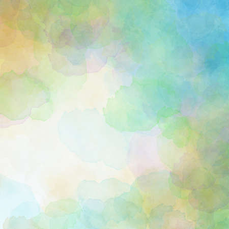 Soft watercolor background in blue green pink and yellow spring colors for Easter or springtime designs with  white center and colorful border texture