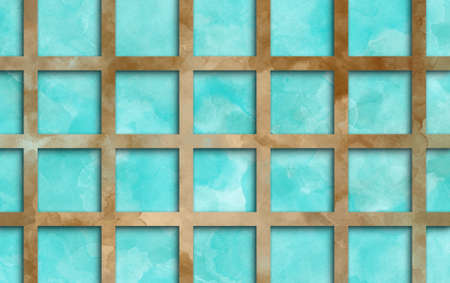 marbled brown grid on blue watercolor background in abstract design, trendy terracotta and aquamarine blue colors and painted texture in striped lines and block design element