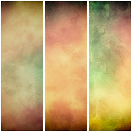 watercolor background banners or striped designs in brown orange green and beige autumn colors with grunge texture stains, website banners