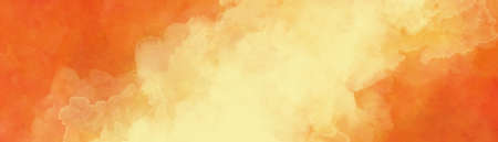 Abstract yellow watercolor smoke or haze on orange background in abstract diagonal shaft of light or puffy clouds with watercolor fringe bleed and wispy texture 免版税图像