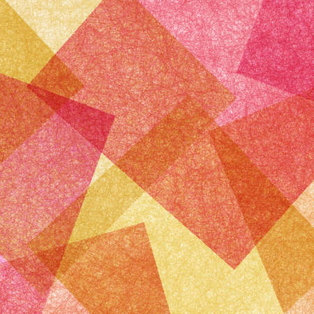 Abstract geometric background in red orange yellow and pink with texture, layers of triangle shapes in modern art style background design