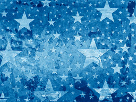 July 4th background or memorial day background with grunge texture, old vintage faded stars with wood grain on distressed blue background, worn aged grungy star design pattern