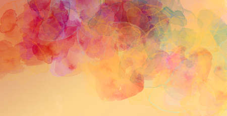 Abstract background with watercolor splash of artistic shapes in maroon pink yellow red blue green orange and peach colors Foto de archivo