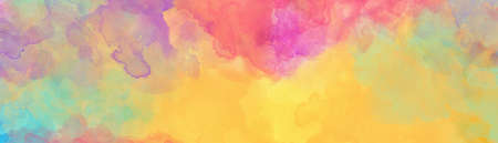Colorful watercolor background, gold pink purple blue yellow and green colors of a sunset sky painted in abstract watercolor texture blobs