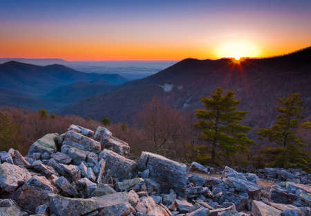 blackrock: Sunset over the Appalachian Mountains and Shenandoah Valley from Blackrock Summit, Shenandoah National Park, Virginia   Stock Photo