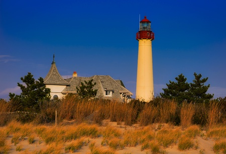 Evening light on the Cape May Point Lighthouse, Cape May, New Jersey   photo