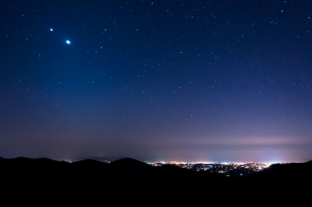 Stars over Harrisonburg, Virginia at night, seen from Skyline Drive in Shenandoah National Park, Virginia  photo
