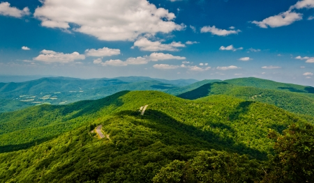 View of the Blue Ridge Mountains from Little Stony Man Cliffs, along the Appalachian Trail in Shenandoah National Park, Virginia   photo