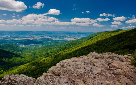 View of the Appalachian Mountains and Shenandoah Valley from Crescent Rock, on Skyline Drive in Shenandoah National Park, Virginia   photo