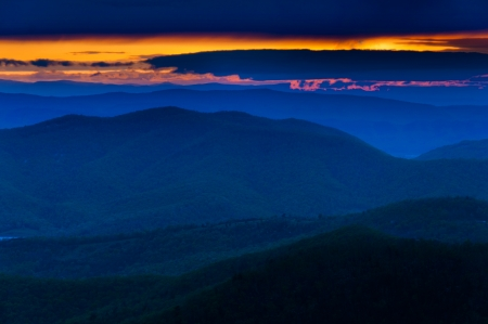 Colorful spring sunset over the Blue Ridge Mountains from Skyline Drive in Shenandoah National Park, Virginia   photo