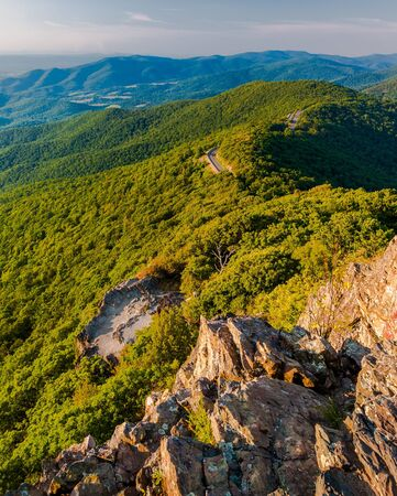 View of the Blue Ridge Mountains from Little Stony Man Mountain, Shenandoah National Park, Virginia   photo