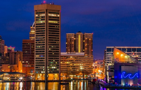 The Baltimore Inner Harbor Skyline at night  Editorial