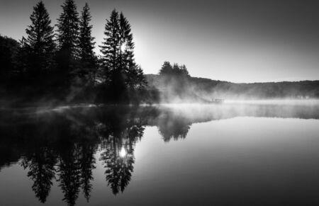 national forest: El sol detr�s de los �rboles de pino y de iluminaci�n de niebla por la ma�ana en Spruce Knob Lake, en el Bosque Nacional Monongahela, Virginia Occidental Foto de archivo