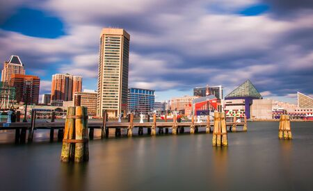 Mid-day long exposure of the Baltimore Inner Harbor Skyline