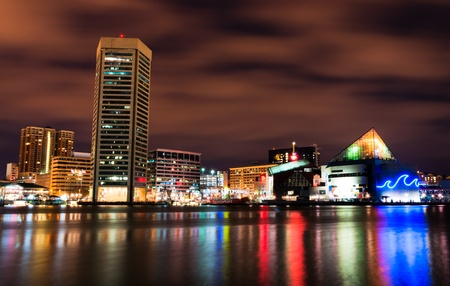 Long exposure of the colorful Baltimore skyline at night, Maryland   Editorial