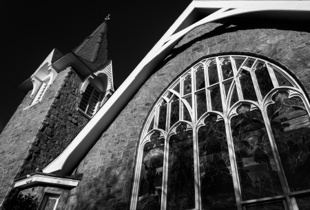 Black and white image of a church in Cape May, New Jersey. photo