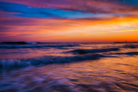 Waves at sunset, Cape May, New Jersey. photo
