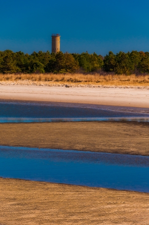 coasts: World War II Lookout tower and beach at Cape Henlopen State Park, Delaware. Stock Photo