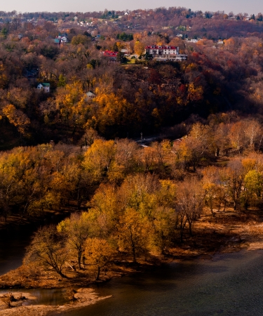 Autumn view of Park Island and the upper town of Harpers Ferry, West Virginia. photo