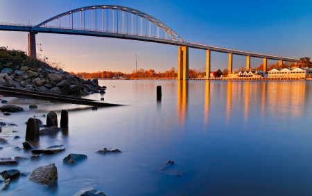 Evening long exposure of the bridge over the Chesapeake and Delaware Canal in Chesapeake City, Maryland. photo