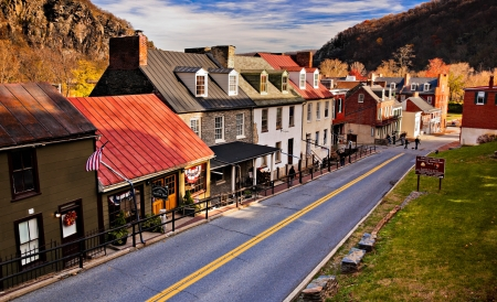 west virginia trees: Historic buildings and shops on High Street in Harper