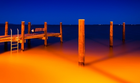 The fishing pier in Havre de Grace, Maryland at night. photo