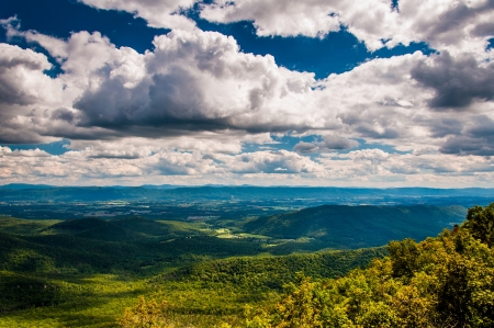 mill valley: View of the Shenandoah Valley and Appalachian Mountains from the Mill Mountain Trail on Great North Mountain in George Washington National Forest, Virginia.