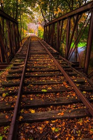 Autumn leaves on a railroad bridge in York County, Pennsylvania. photo