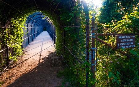 appalachian trail sign: Bridge and trail junction along the Appalachian Trail near South Mountain, Maryland. Stock Photo