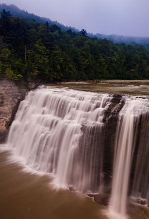 Foggy morning at Middle Falls, Letchworth State Park, New York photo