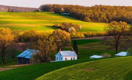 rolling landscape: Home and barn on the farm fields and rolling hills of Southern York County, Pennsylvania. Stock Photo