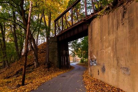 backroad: Railroad bridge seen during autumn in York County, Pennsylvania.