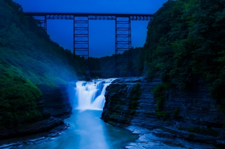 Upper Falls and a train bridge during twilight, at Letchworth State Park, New York photo