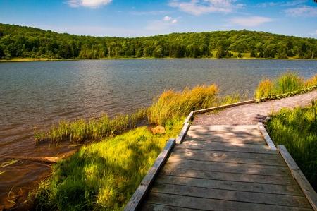 encircling: A boardwalk trail encircling Spruce Knob Lake, in Monongahela National Forest, West Virginia.