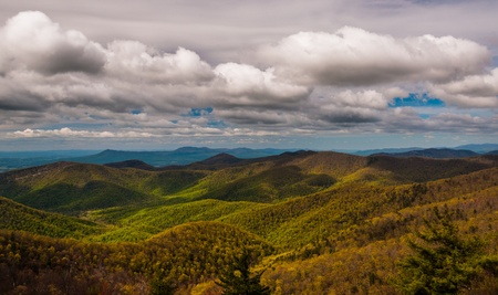 stomy: Clouds over the Blue Ridge Mountains, seen from Blackrock Summit, Shenandoah National Park, Virginia.