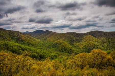 stomy: Cloudy spring view from Skyline Drive in Shenandoah National Park, Virginia. Stock Photo