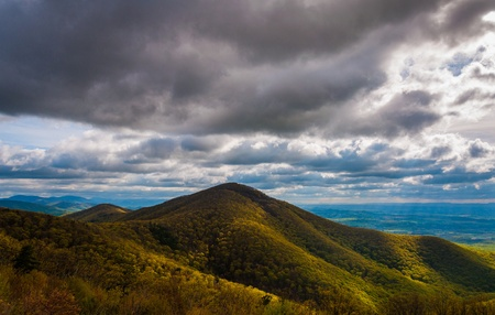 stomy: Evening view of the Appalachian Mountains from Skyline Drive in Shenandoah National Park, Virginia.