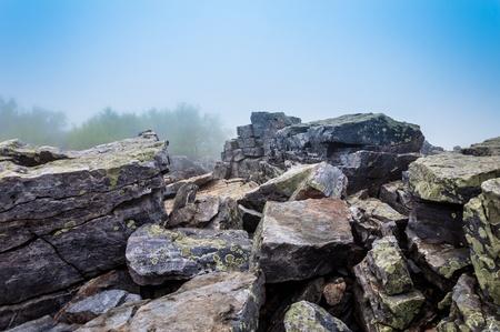 blackrock: Large boulders in fog on Blackrock Summit, in Shenandoah National Park, Virginia.
