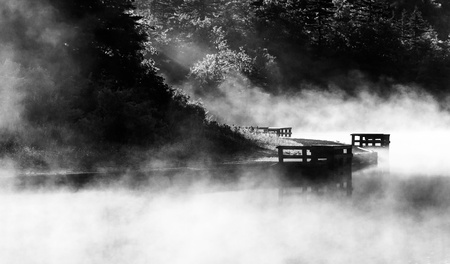 appalachian trail: Morning fog on Spruce Knob Lake, Monongahela National Forest, West Virginia. Stock Photo