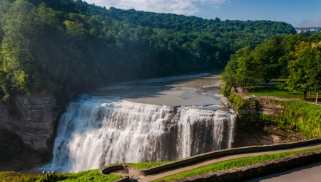 Morning view of Middle Falls, at Letchworth State Park, New York. photo